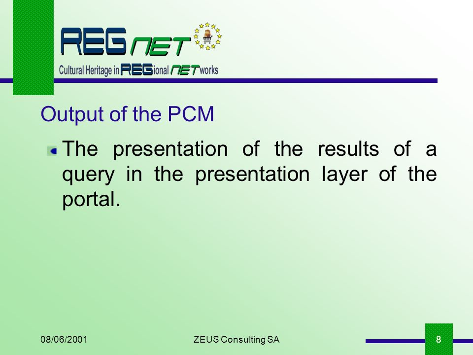 08/06/2001ZEUS Consulting SA8 Output of the PCM The presentation of the results of a query in the presentation layer of the portal.