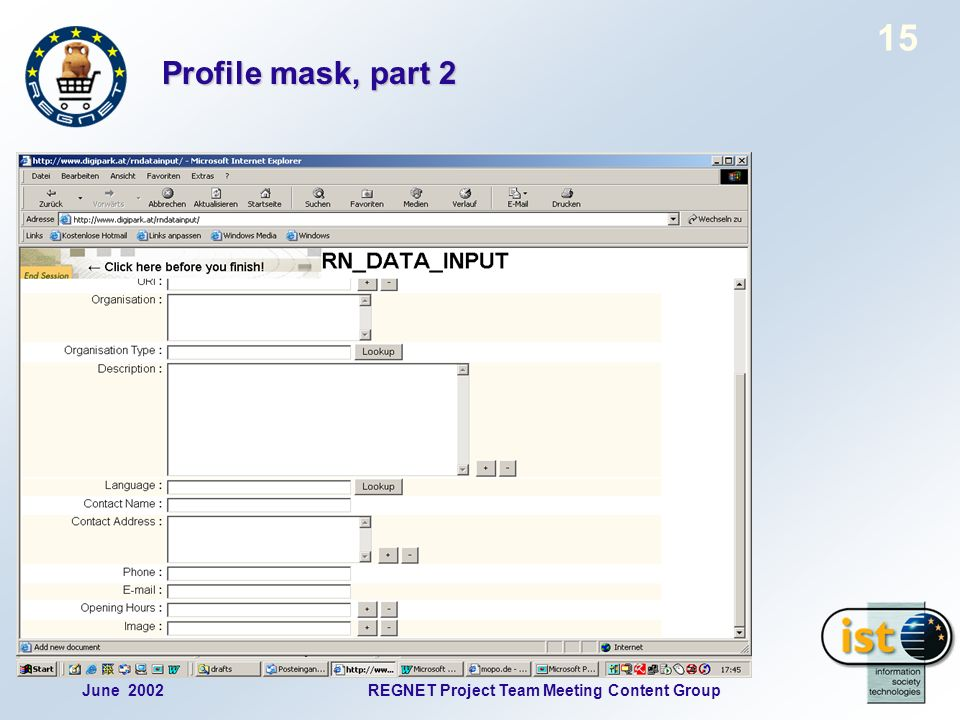 June 2002REGNET Project Team Meeting Content Group 15 Profile mask, part 2