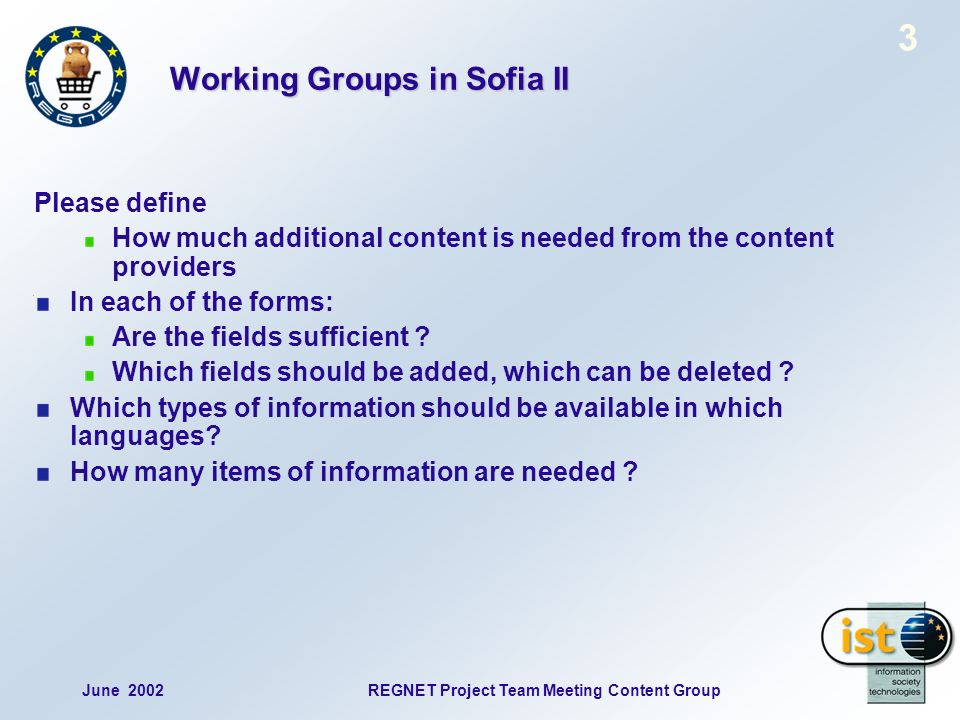 June 2002REGNET Project Team Meeting Content Group 14 Profile mask, part 1