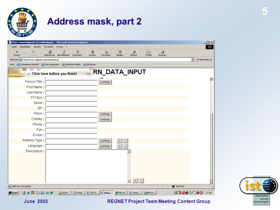 June 2002REGNET Project Team Meeting Content Group 16 Vocabulary mask