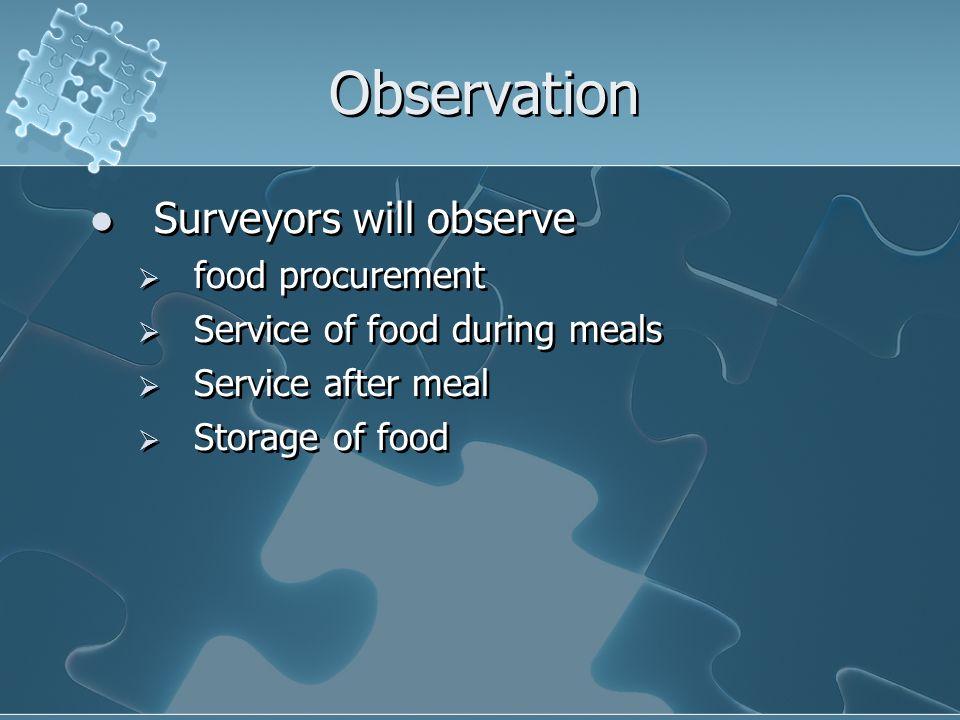 Observation Surveyors will observe food procurement Service of food during meals Service after meal Storage of food Surveyors will observe food procur