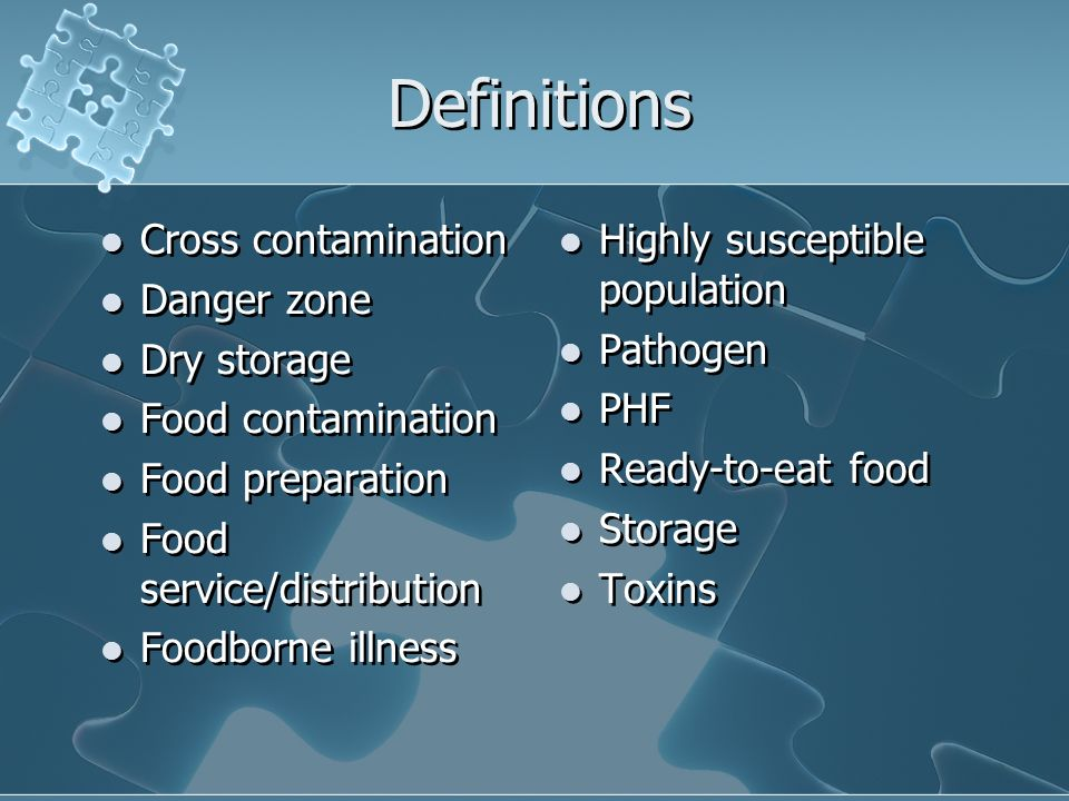 Other Factors Involved in Foodborne Illness Poor personal hygiene Inadequate cooking and improper holding Contaminated equipment Unsafe food sources Poor personal hygiene Inadequate cooking and improper holding Contaminated equipment Unsafe food sources