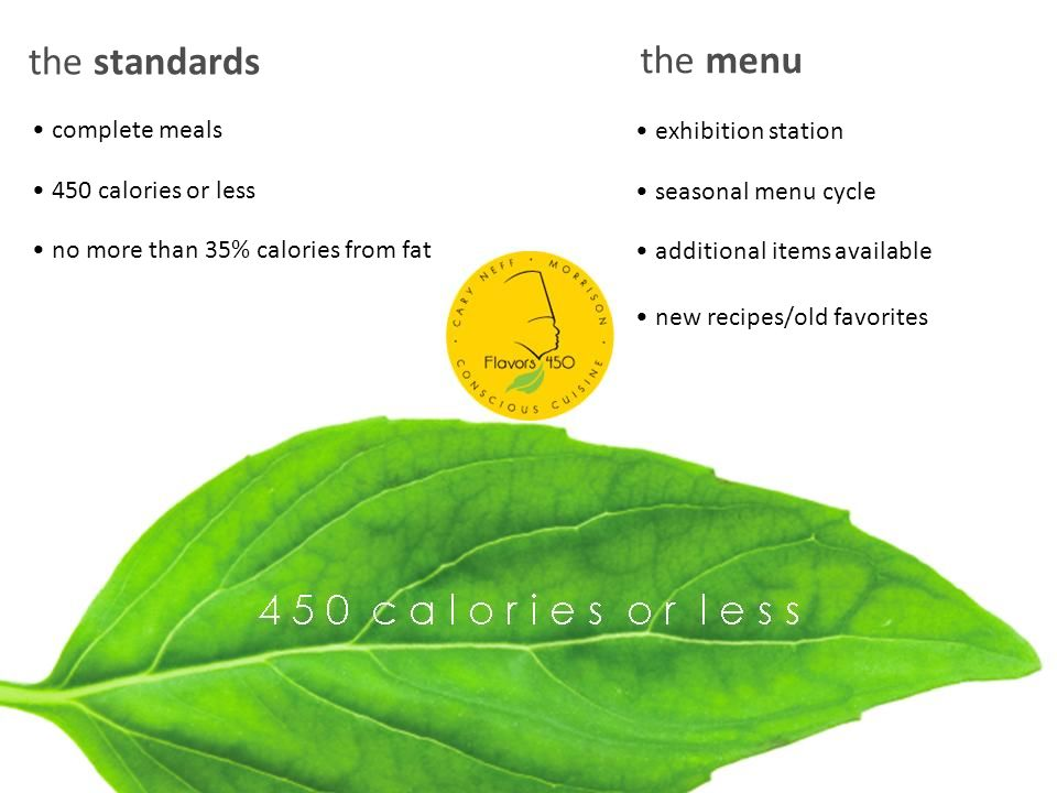 the standards complete meals 450 calories or less no more than 35% calories from fat the menu exhibition station seasonal menu cycle additional items