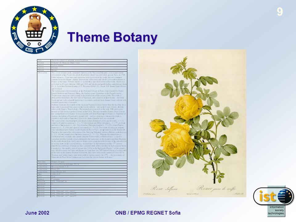 June 2002ONB / EPMG REGNET Sofia 9 Theme Botany