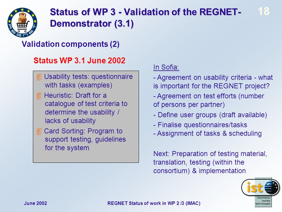 June 2002 18 REGNET Status of work in WP 2 /3 (IMAC) Status of WP 3 - Validation of the REGNET- Demonstrator (3.1) Validation components (2) Status WP