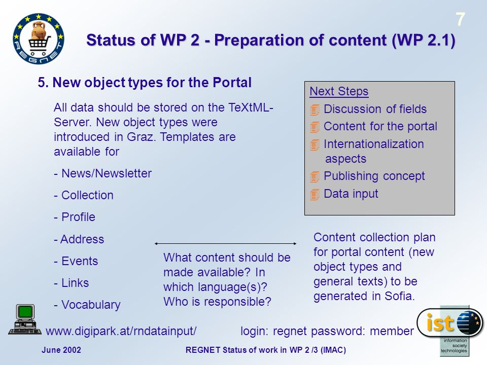 June 2002 7 REGNET Status of work in WP 2 /3 (IMAC) Status of WP 2 - Preparation of content (WP 2.1) 5. New object types for the Portal Next Steps Dis