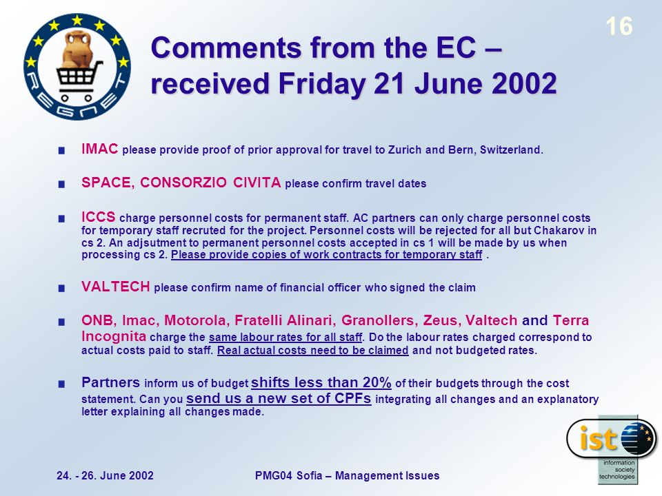 24. - 26. June 2002PMG04 Sofia – Management Issues 16 Comments from the EC – received Friday 21 June 2002 IMAC please provide proof of prior approval