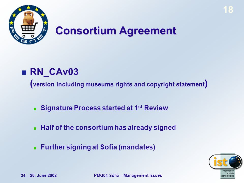24. - 26. June 2002PMG04 Sofia – Management Issues 18 Consortium Agreement RN_CAv03 ( version including museums rights and copyright statement ) Signa