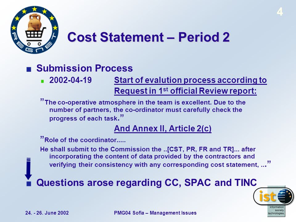 24. - 26. June 2002PMG04 Sofia – Management Issues 4 Cost Statement – Period 2 Submission Process 2002-04-19 Start of evalution process according to R