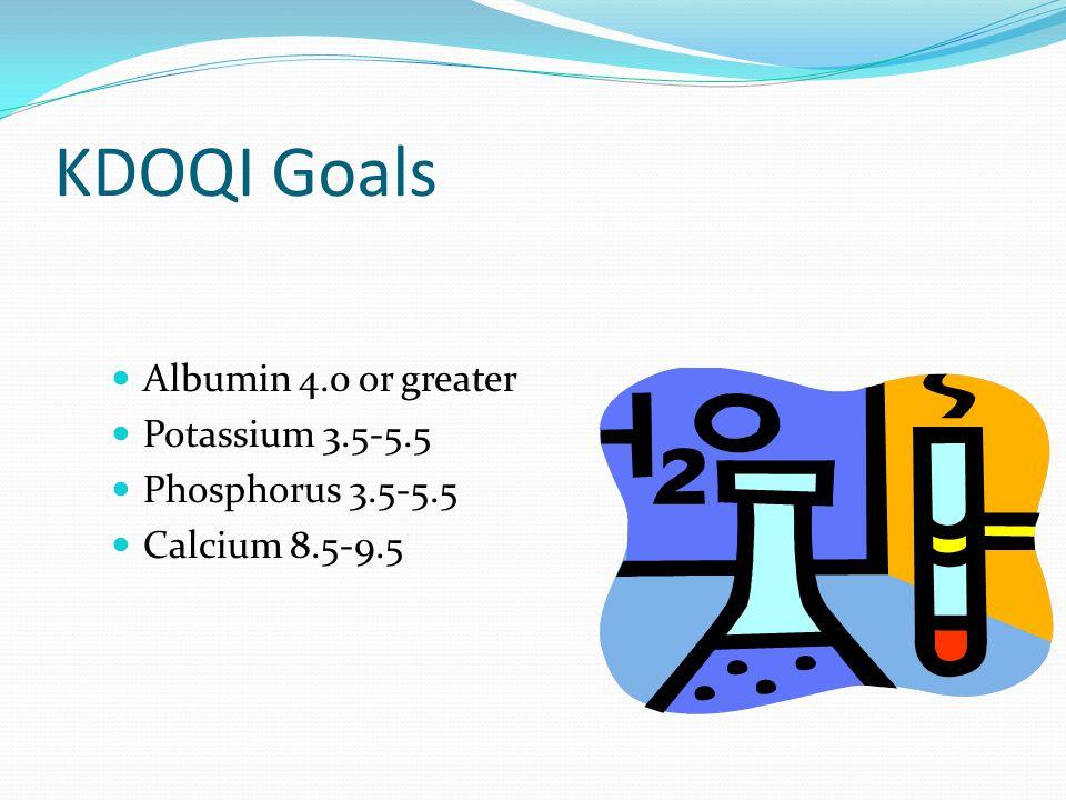 KDOQI Goals Albumin 4.0 or greater Potassium 3.5-5.5 Phosphorus 3.5-5.5 Calcium 8.5-9.5