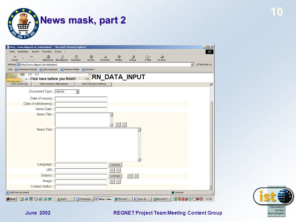 June 2002REGNET Project Team Meeting Content Group 10 News mask, part 2