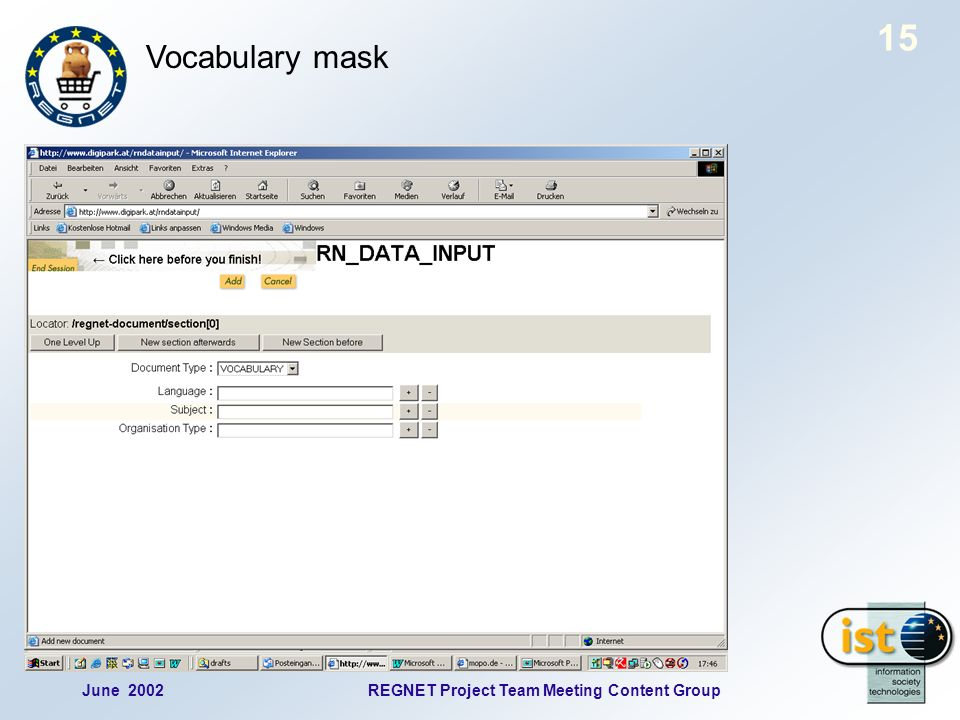 June 2002REGNET Project Team Meeting Content Group 15 Vocabulary mask