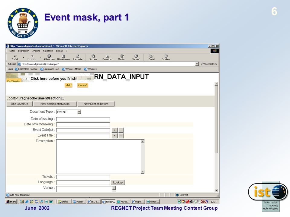 June 2002REGNET Project Team Meeting Content Group 6 Event mask, part 1