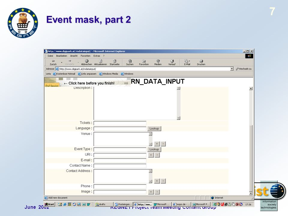June 2002REGNET Project Team Meeting Content Group 7 Event mask, part 2