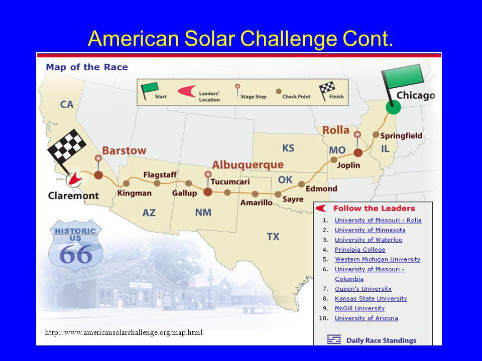 American Solar Challenge Cont. http://www.americansolarchallenge.org/map.html