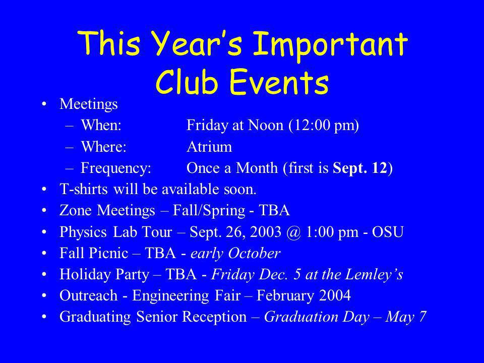 This Years Important Club Events Meetings –When:Friday at Noon (12:00 pm) –Where:Atrium –Frequency:Once a Month (first is Sept.