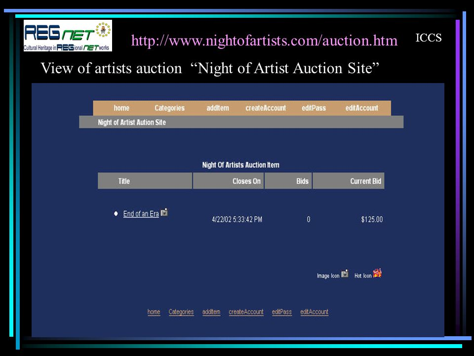 ICCS View of artists auction Night of Artist Auction Site