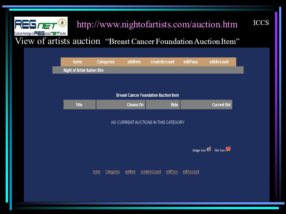http://www.nightofartists.com/auction.htm ICCS View of artists auction Breast Cancer Foundation Auction Item