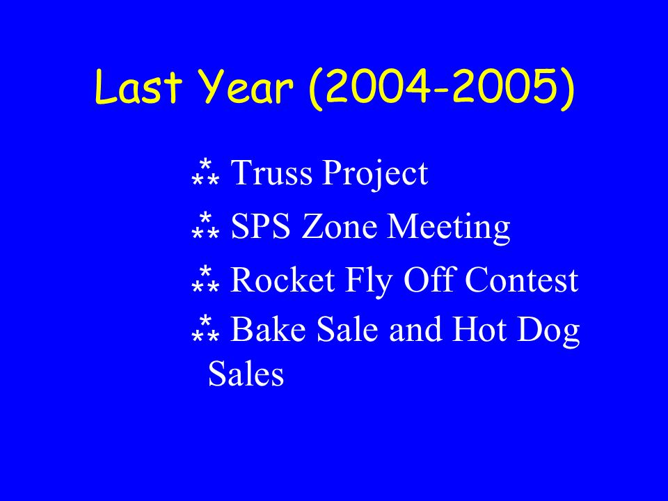 Last Year (2004-2005) Truss Project SPS Zone Meeting Rocket Fly Off Contest Bake Sale and Hot Dog Sales
