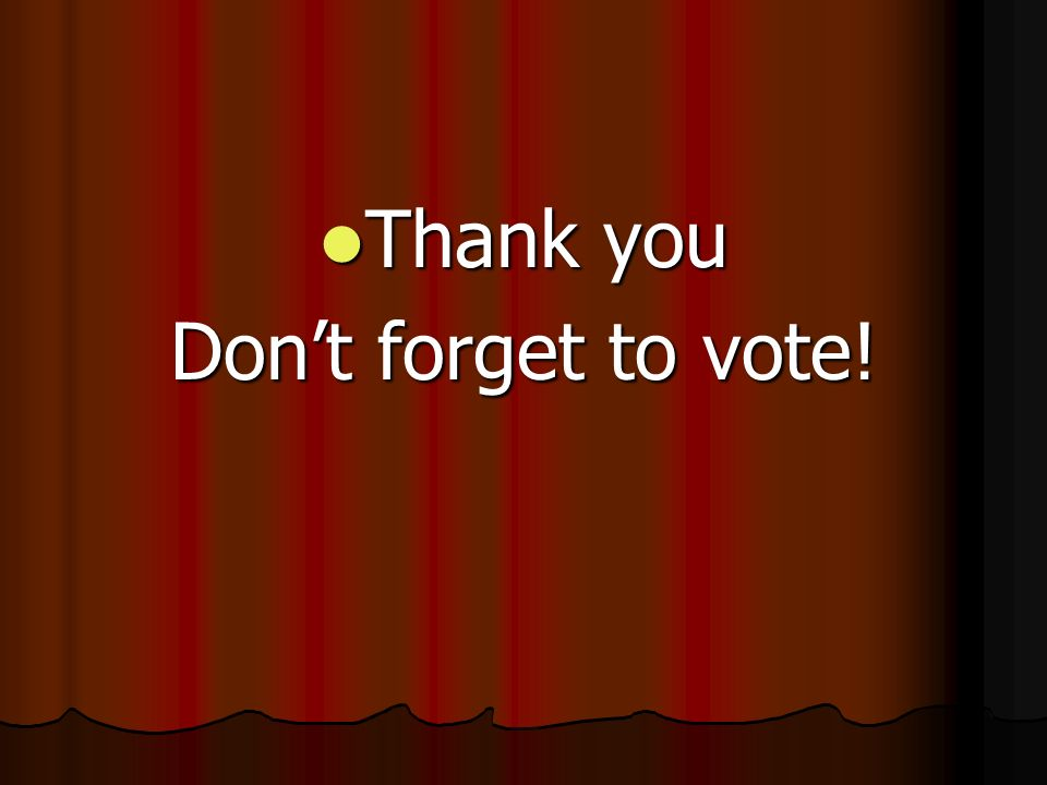 Thank you Thank you Dont forget to vote!