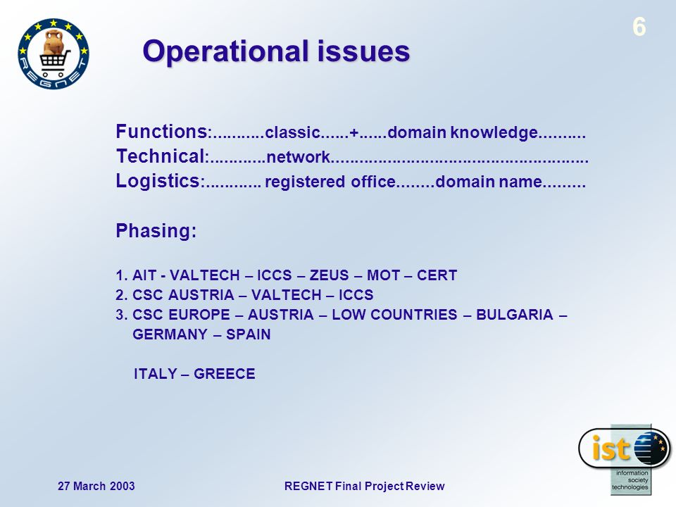 27 March 2003 REGNET Final Project Review 6 Operational issues Functions :...........classic......+......domain knowledge..........