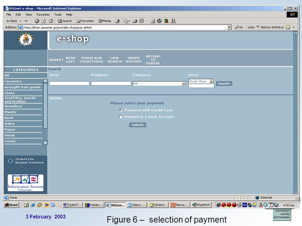 3 February 2003 13 Figure 6 – selection of payment