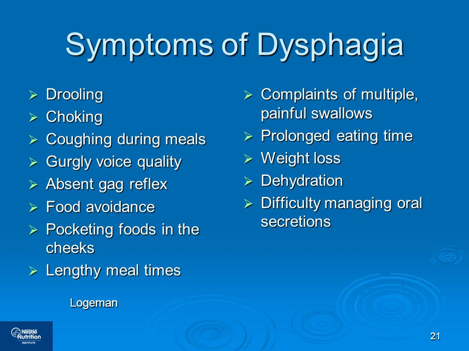 21 Symptoms of Dysphagia Drooling Drooling Choking Choking Coughing during meals Coughing during meals Gurgly voice quality Gurgly voice quality Absen