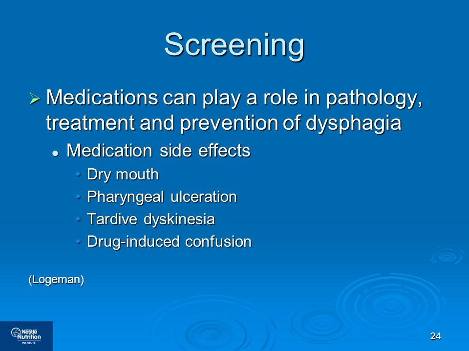 24 Screening Medications can play a role in pathology, treatment and prevention of dysphagia Medications can play a role in pathology, treatment and p