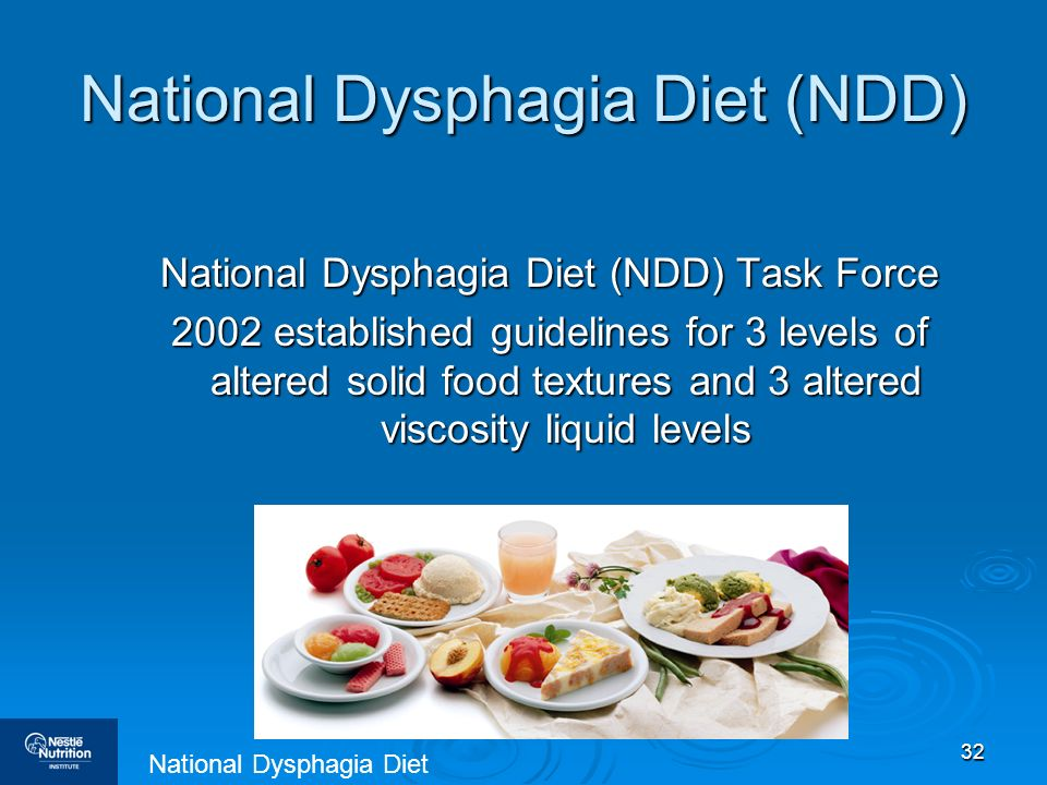 32 National Dysphagia Diet (NDD) National Dysphagia Diet (NDD) Task Force 2002 established guidelines for 3 levels of altered solid food textures and
