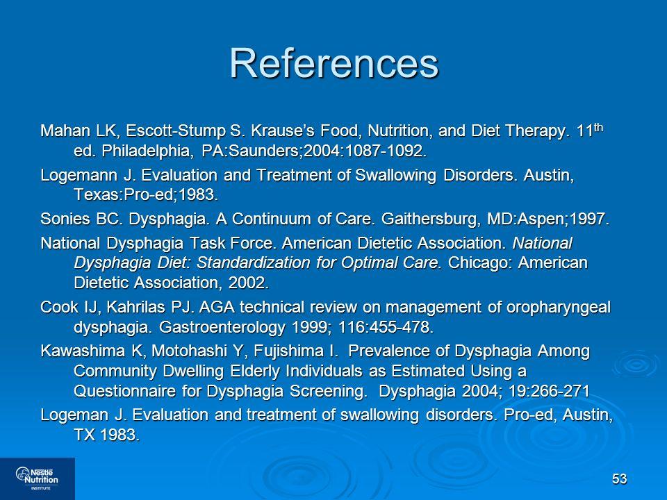 53 References Mahan LK, Escott-Stump S. Krauses Food, Nutrition, and Diet Therapy. 11 th ed. Philadelphia, PA:Saunders;2004:1087-1092. Logemann J. Eva
