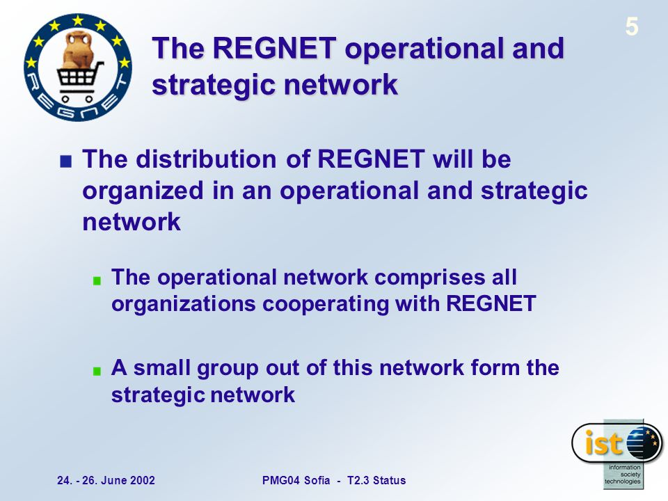 24. - 26. June 2002PMG04 Sofia - T2.3 Status 5 The REGNET operational and strategic network The distribution of REGNET will be organized in an operati