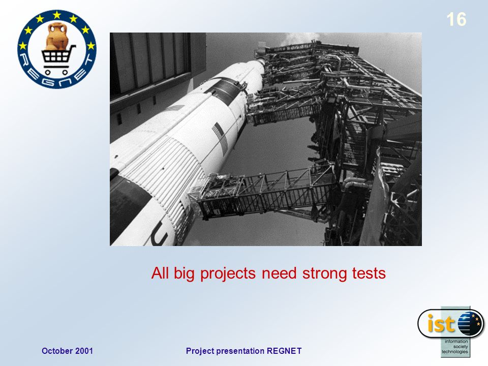 October 2001Project presentation REGNET 16 All big projects need strong tests