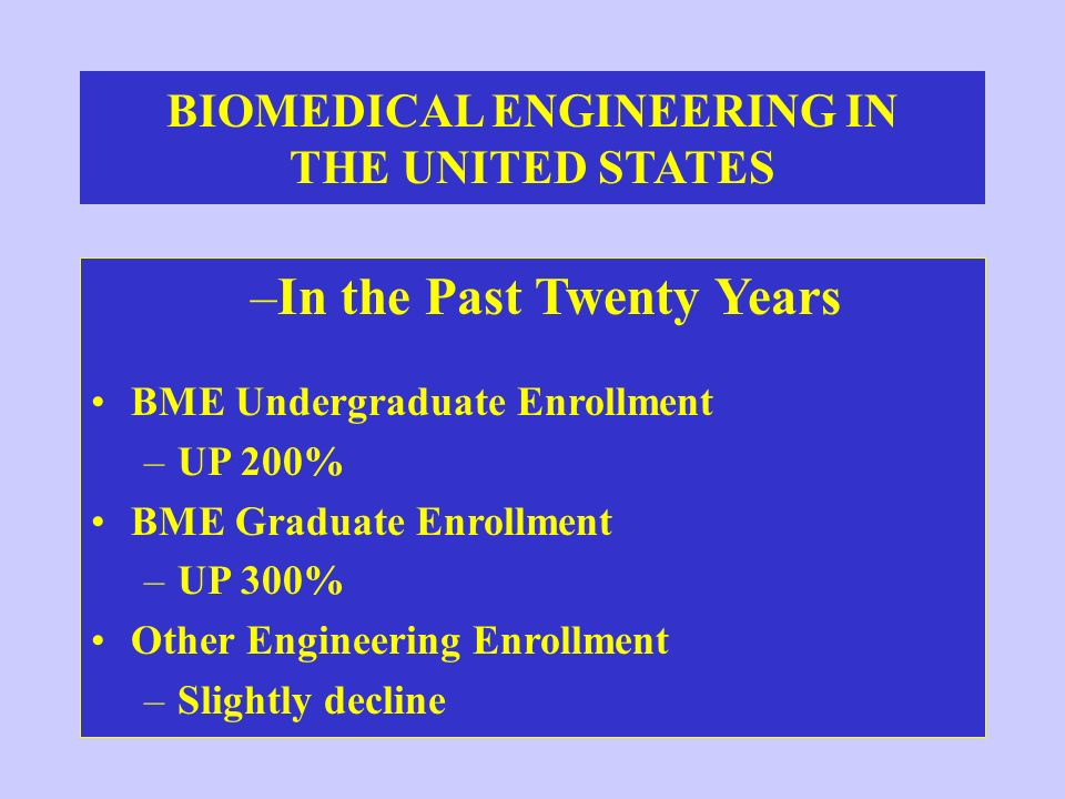 BIOMEDICAL ENGINEERING IN THE UNITED STATES –In the Past Twenty Years BME Undergraduate Enrollment –UP 200% BME Graduate Enrollment –UP 300% Other Eng