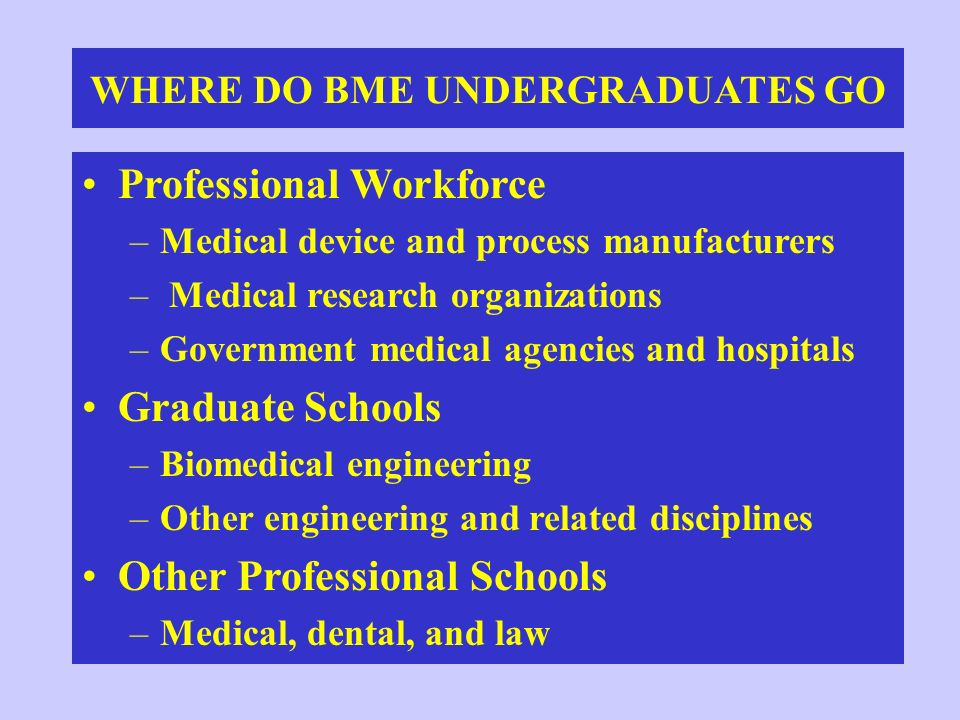 WHERE DO BME UNDERGRADUATES GO Professional Workforce –Medical device and process manufacturers – Medical research organizations –Government medical a