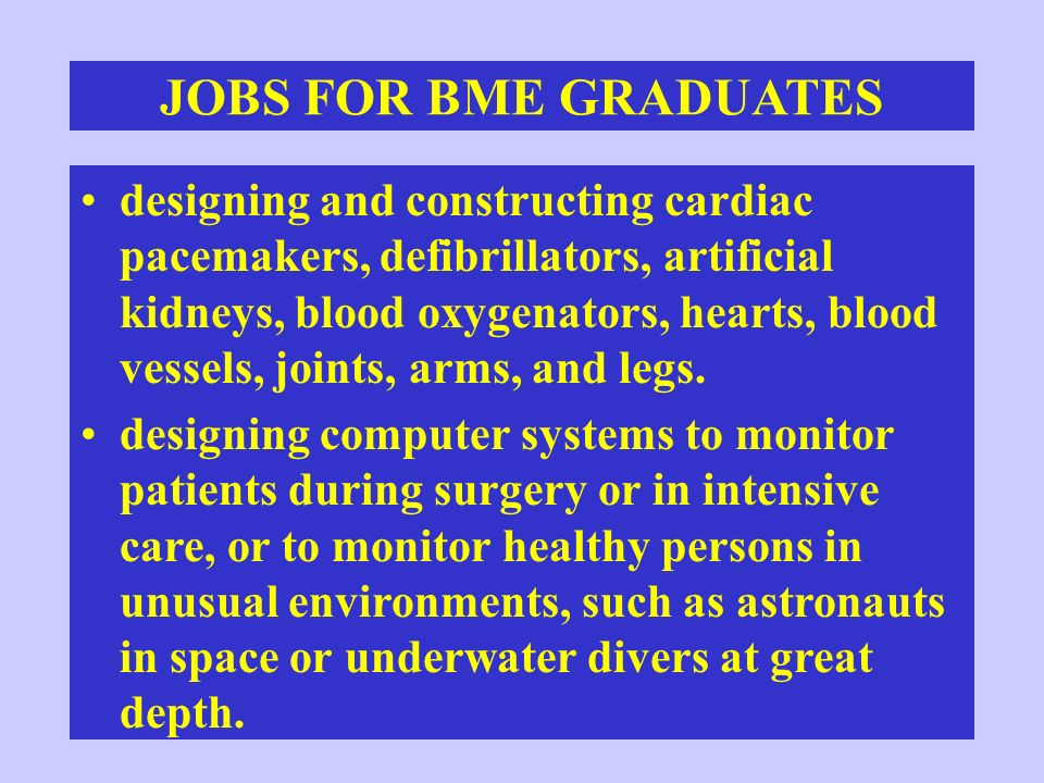 FURTHER INFORMATION ON BIOMEDICAL ENGINEERING Biomedical Engineering Handbook Related Web Sites: –Biomedical Engineering Society http://mecca.org/BME/BMES/society/ –The Whitaker Foundation for BME http://www.whitaker.org/ –BME Net http://www.bmenet.org/BMEnet/