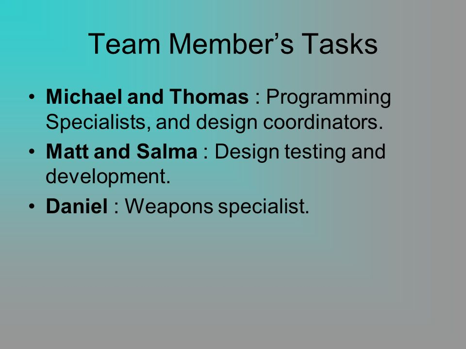 Team Members Tasks Michael and Thomas : Programming Specialists, and design coordinators.