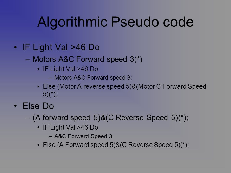 Algorithmic Pseudo code IF Light Val >46 Do –Motors A&C Forward speed 3(*) IF Light Val >46 Do –Motors A&C Forward speed 3; Else (Motor A reverse speed 5)&(Motor C Forward Speed 5)(*); Else Do –(A forward speed 5)&(C Reverse Speed 5)(*); IF Light Val >46 Do –A&C Forward Speed 3 Else (A Forward speed 5)&(C Reverse Speed 5)(*);