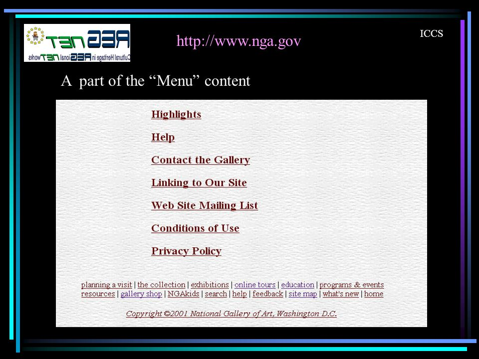 http://www.nga.gov ICCS A part of the Menu content