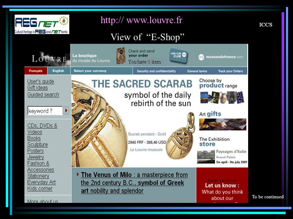 ICCS     ICCS View of E-Shop To be continued