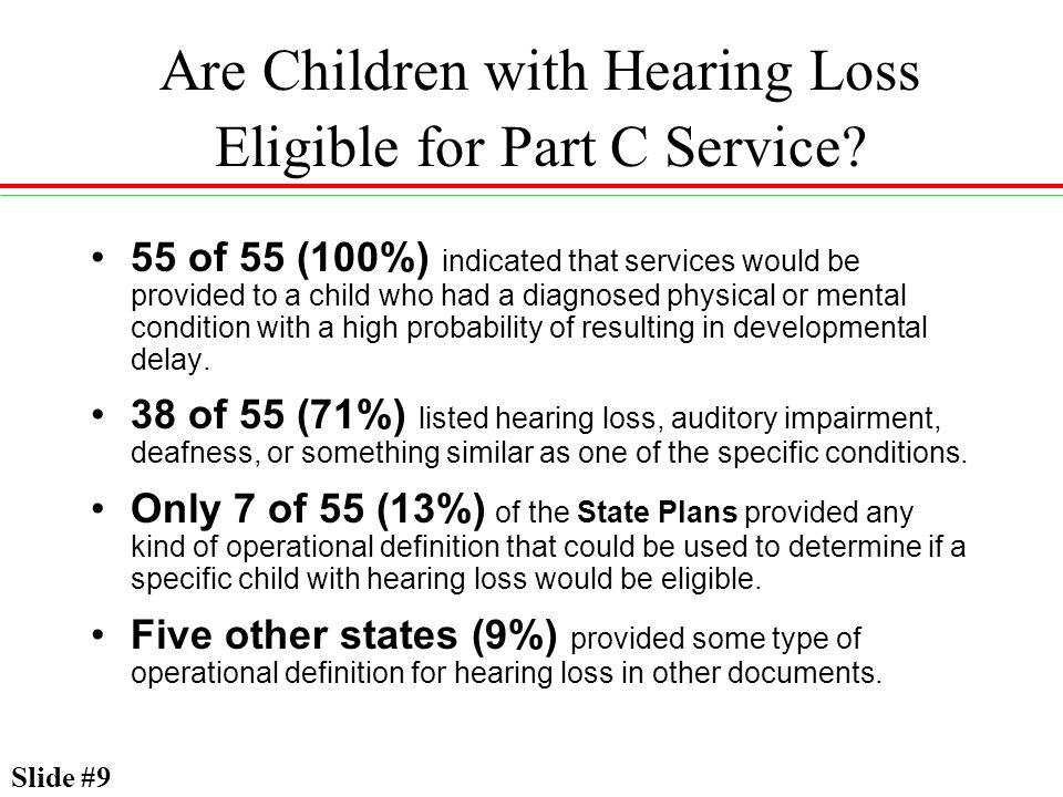 Are Children with Hearing Loss Eligible for Part C Service? 55 of 55 (100%) indicated that services would be provided to a child who had a diagnosed p