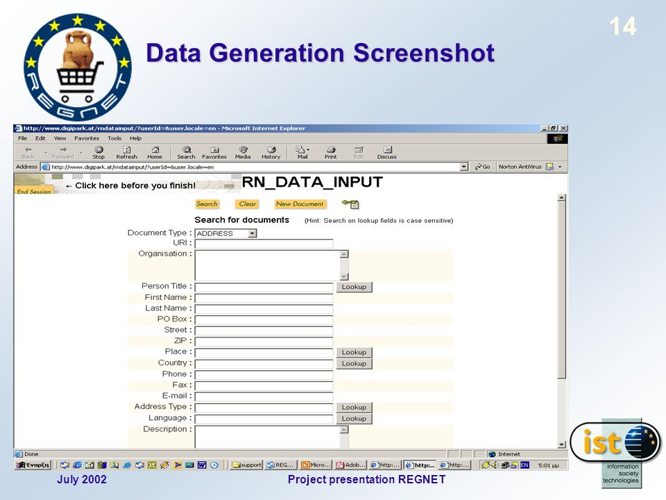 July 2002Project presentation REGNET 14 Data Generation Screenshot