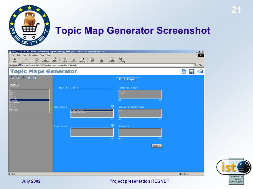July 2002Project presentation REGNET 21 Topic Map Generator Screenshot