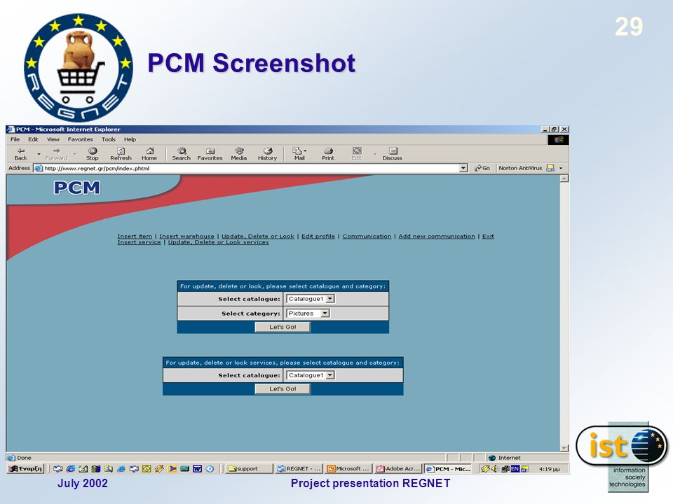 July 2002Project presentation REGNET 29 PCM Screenshot