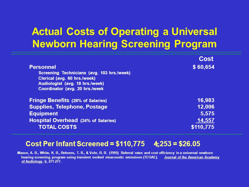 Actual Costs of Operating a Universal Newborn Hearing Screening Program Cost Personnel$ 60,654 Screening Technicians (avg.