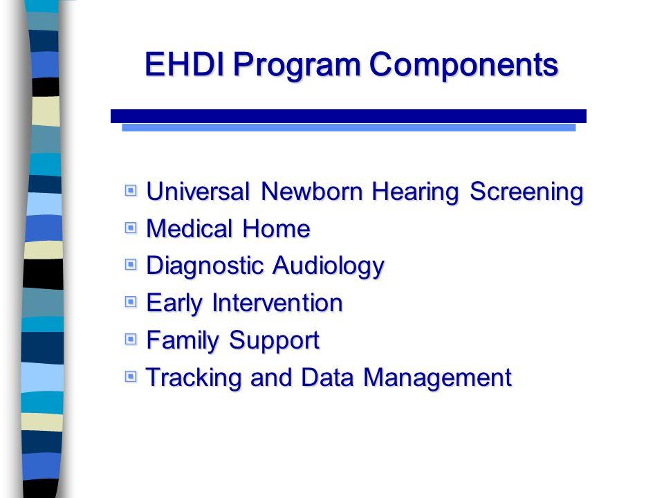 EHDI Program Components Universal Newborn Hearing Screening Universal Newborn Hearing Screening Medical Home Medical Home Diagnostic Audiology Diagnostic Audiology Early Intervention Early Intervention Family Support Family Support Tracking and Data Management Tracking and Data Management
