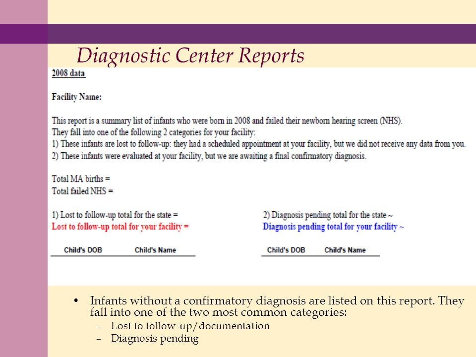 Diagnostic Center Reports Infants without a confirmatory diagnosis are listed on this report.
