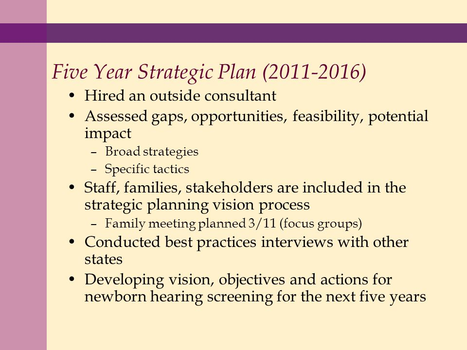 Five Year Strategic Plan (2011-2016) Hired an outside consultant Assessed gaps, opportunities, feasibility, potential impact –Broad strategies –Specific tactics Staff, families, stakeholders are included in the strategic planning vision process –Family meeting planned 3/11 (focus groups) Conducted best practices interviews with other states Developing vision, objectives and actions for newborn hearing screening for the next five years