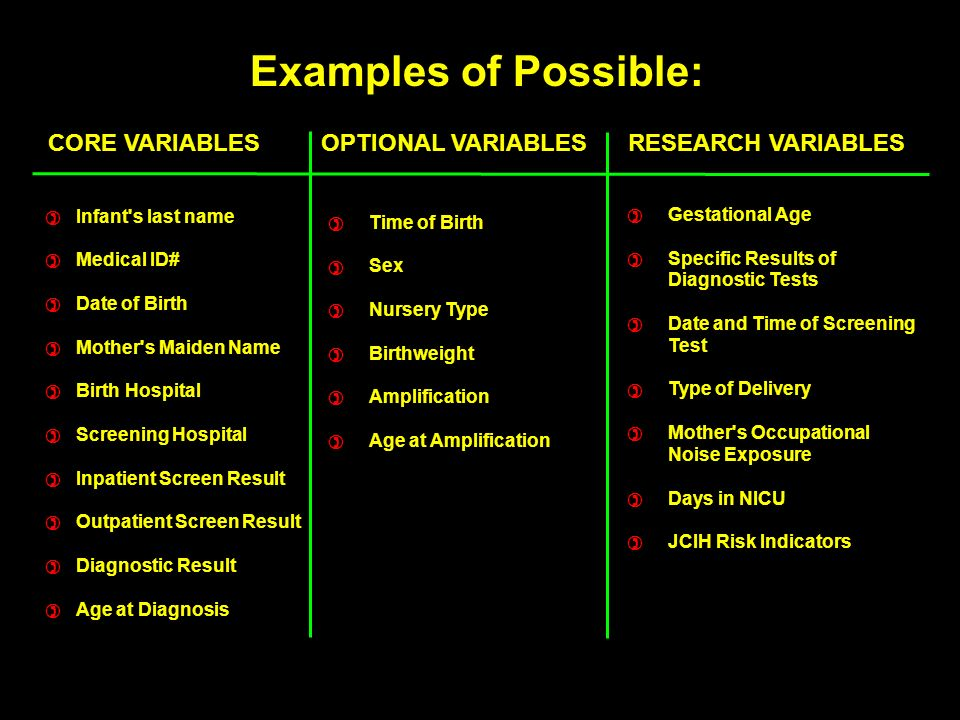CORE VARIABLES OPTIONAL VARIABLES RESEARCH VARIABLES Infant s last name Medical ID# Date of Birth Mother s Maiden Name Birth Hospital Screening Hospital Inpatient Screen Result Outpatient Screen Result Diagnostic Result Age at Diagnosis ) ) ) ) ) ) ) ) ) ) Time of Birth Sex Nursery Type Birthweight Amplification Age at Amplification ) ) ) ) ) ) Gestational Age Specific Results of Diagnostic Tests Date and Time of Screening Test Type of Delivery Mother s Occupational Noise Exposure Days in NICU JCIH Risk Indicators ) ) ) ) ) ) ) Examples of Possible: