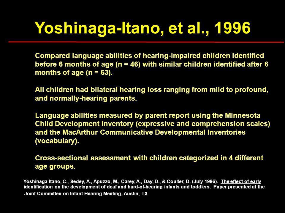Yoshinaga-Itano, et al., 1996 Compared language abilities of hearing-impaired children identified before 6 months of age (n = 46) with similar childre