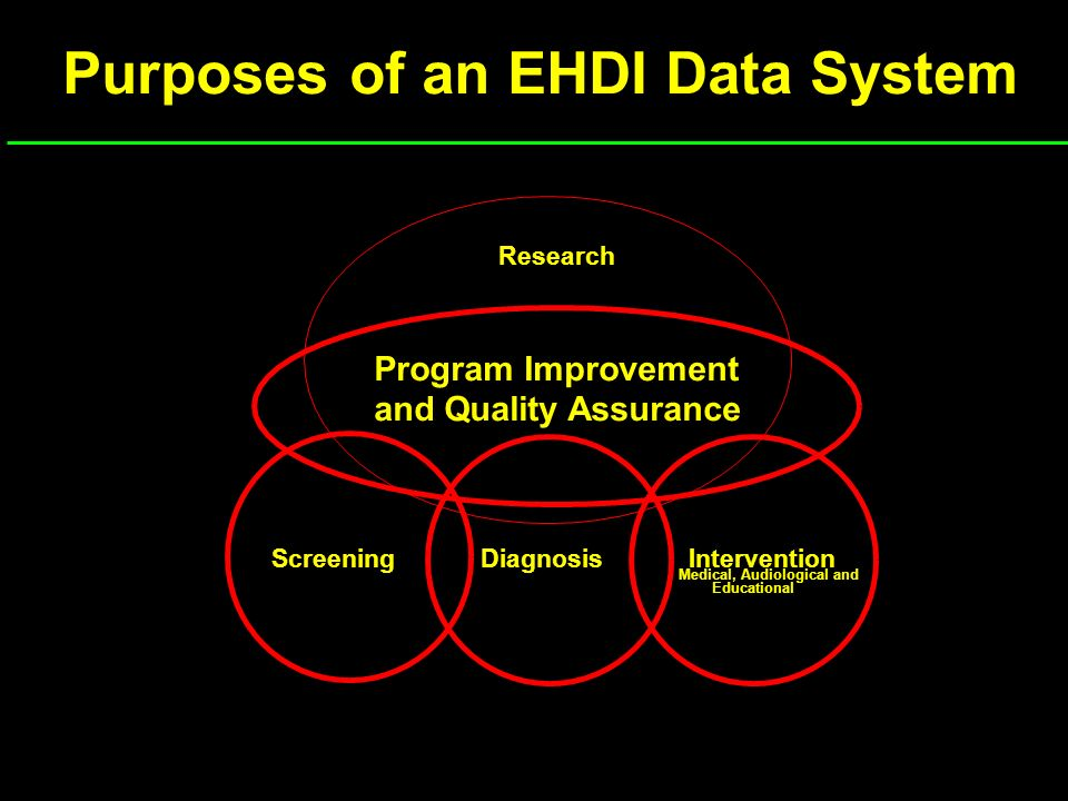Purposes of an EHDI Data System Screening Research DiagnosisIntervention Medical, Audiological and Educational Program Improvement and Quality Assuran